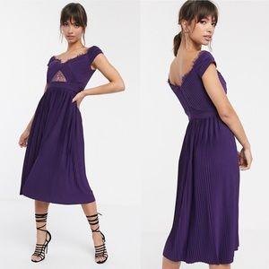 NWT Asos Purple Lace Pleated Midi Dress Size 12